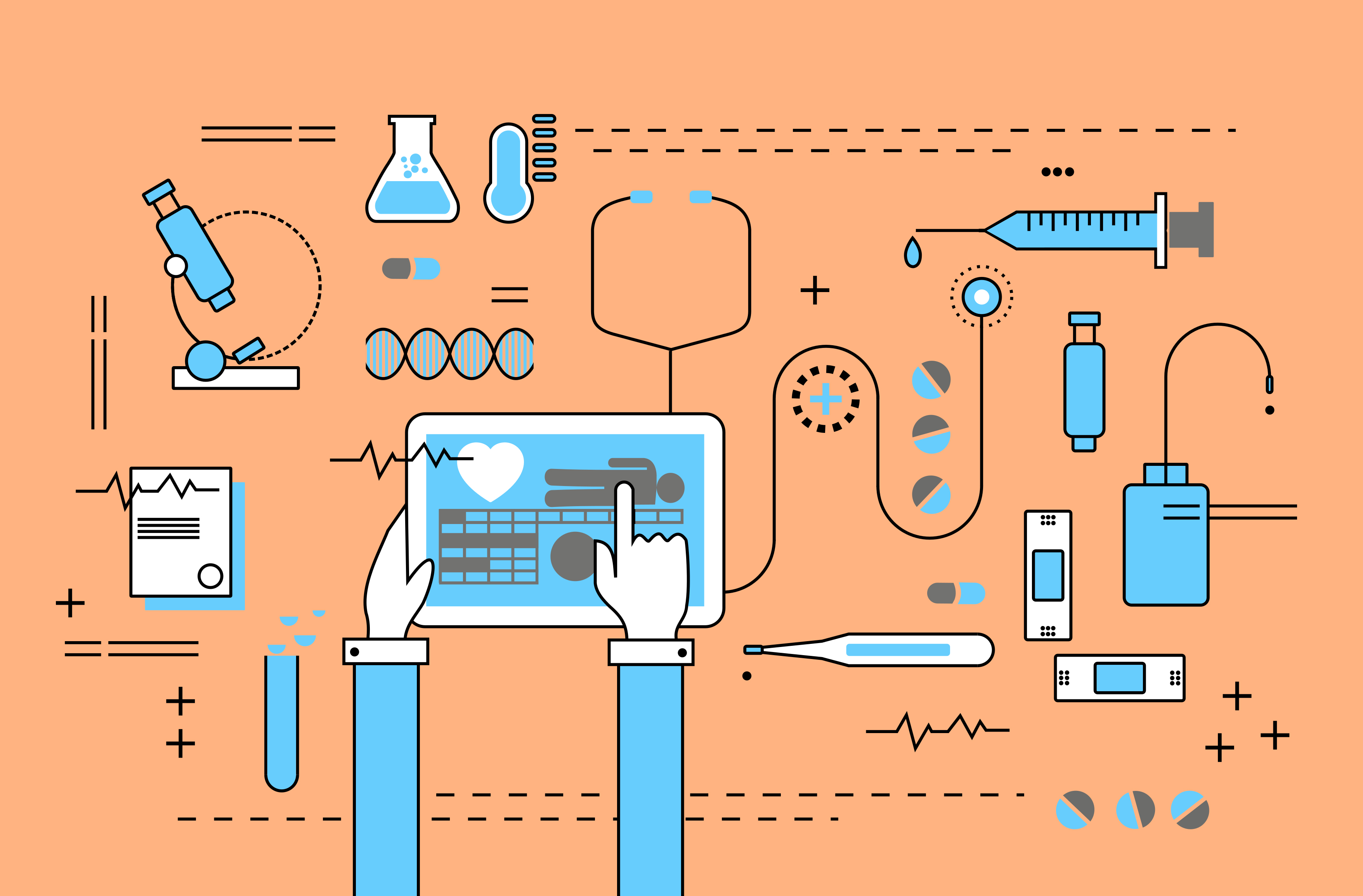Medicine and Healthcare with Medical Devices - Flat Line Design